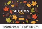 autumn sale background. folded... | Shutterstock .eps vector #1434439274