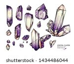 hand drawn crystal cluster.... | Shutterstock .eps vector #1434486044