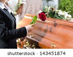mourning woman on funeral with... | Shutterstock . vector #143451874