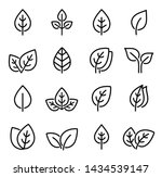 eco set of black line leaf... | Shutterstock .eps vector #1434539147