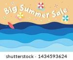 big summer sale. top view of... | Shutterstock .eps vector #1434593624