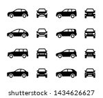 Stock photo cars front and side view signs vehicle black silhouette icons isolated on white background 1434626627