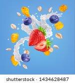 Small photo of White liquid fresh milk, yogurt or cream 3D swirl splash, berries, corn flakes, oat cereals isolated. Milk or yogurt, strawberry, blueberries, oat milk, cream swirl, cornflakes, cereals splash design