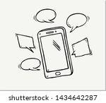hand drawn of smart phone  ....   Shutterstock .eps vector #1434642287