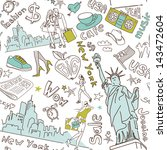 new york seamless doodles... | Shutterstock .eps vector #143472604