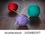 Knitting Needles And Balls Of...