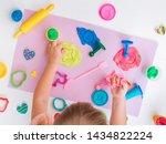 top view of little girl toddler ... | Shutterstock . vector #1434822224