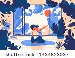 young girl doing yoga asana... | Shutterstock .eps vector #1434823037