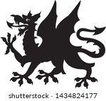 heraldic dragon tattoo. black   ...   Shutterstock .eps vector #1434824177