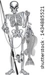 skeleton fisher holding rod and ... | Shutterstock .eps vector #1434885521