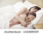 cute little girl sleeping with... | Shutterstock . vector #143489059