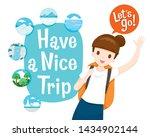 cute female backpacker... | Shutterstock .eps vector #1434902144