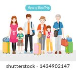 family with luggages standing... | Shutterstock .eps vector #1434902147