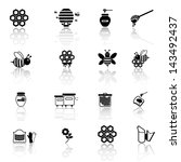 bee and honey icon set | Shutterstock .eps vector #143492437