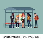phone addicted commuters at bus ...   Shutterstock .eps vector #1434930131