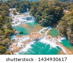 Aerial view of the majestic turquoise waterfalls at Agua Azul in Chiapas, Mexico