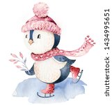 Stock photo watercolor merry christmas character penguin illustration winter cartoon isolated cute funny 1434995651