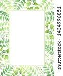 green leaves frame template....   Shutterstock .eps vector #1434996851