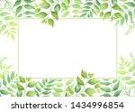 green leaves frame template....   Shutterstock .eps vector #1434996854