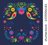 floral illustration with birds  ... | Shutterstock .eps vector #1435006181