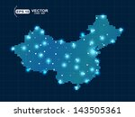 pixel china map with lights... | Shutterstock .eps vector #143505361