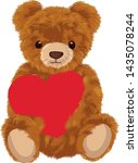 Teddy Bear With Heart Vector...