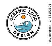 vintage ocean wave logo design | Shutterstock .eps vector #1435153901