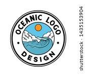 vintage ocean wave logo design | Shutterstock .eps vector #1435153904