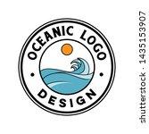 vintage ocean wave logo design | Shutterstock .eps vector #1435153907