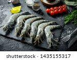 Raw Shrimps On A Stone Board...