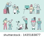 robots helping human life  flat ... | Shutterstock .eps vector #1435183877
