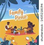 bright banner family picnic... | Shutterstock .eps vector #1435218194