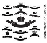 king and queen crown silhouette ... | Shutterstock .eps vector #143521945