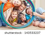 five cheerful kids looking... | Shutterstock . vector #143533237