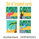 exotic palm and island ... | Shutterstock .eps vector #1435342421