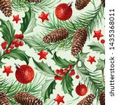 seamless pattern with christmas ... | Shutterstock .eps vector #1435368011
