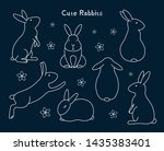 collection of cute bunny... | Shutterstock .eps vector #1435383401