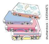 retro suitcases vector... | Shutterstock .eps vector #143544871