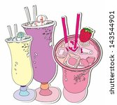 hand drawn set of cocktail... | Shutterstock .eps vector #143544901