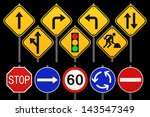 road sign on black background. | Shutterstock . vector #143547349