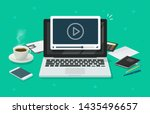 workplace and working on laptop ... | Shutterstock .eps vector #1435496657