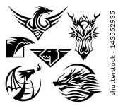 Dragon Symbols 6 different dragon symbols. Vector EPS10 file. - stock vector