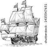 sailing ship vintage frigate on ...   Shutterstock .eps vector #1435547651
