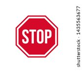 vector warning stop sign icon.... | Shutterstock .eps vector #1435563677