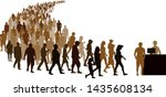 crowd of people go to register. ... | Shutterstock .eps vector #1435608134