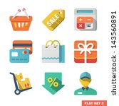shopping flat icon set for web...