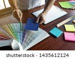 graphic designer choose colors... | Shutterstock . vector #1435612124