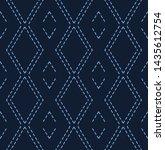 indigo blue diamond sashiko... | Shutterstock .eps vector #1435612754