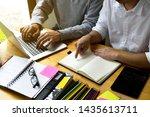 students helps friend teaching... | Shutterstock . vector #1435613711
