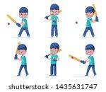 set boy cricket player in... | Shutterstock .eps vector #1435631747